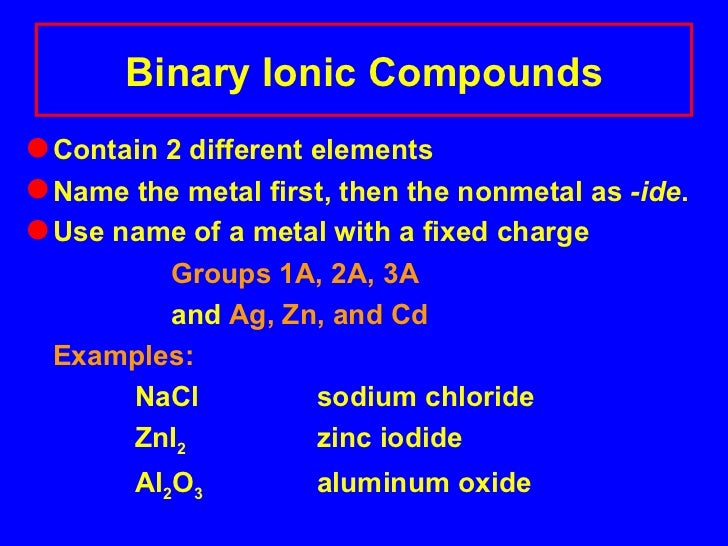 Naming binary and ternary compounds