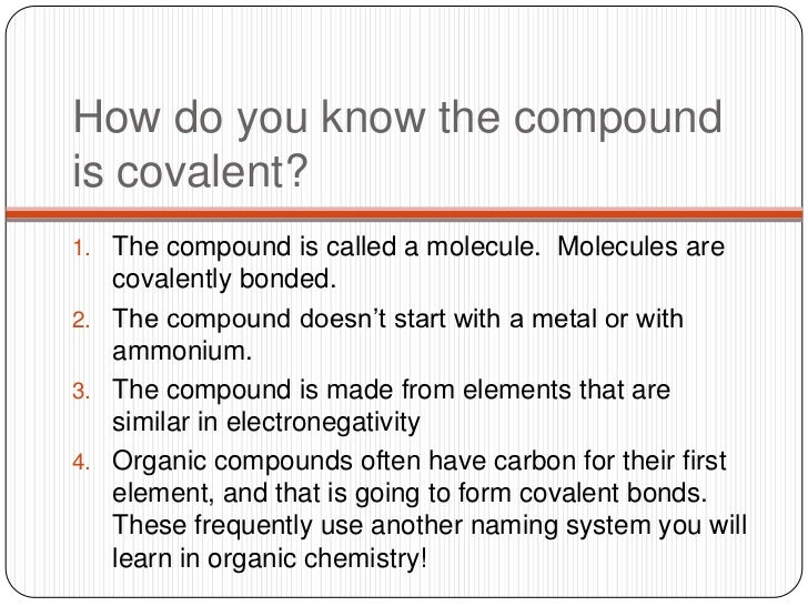 Naming Covalent Compounds And Acids