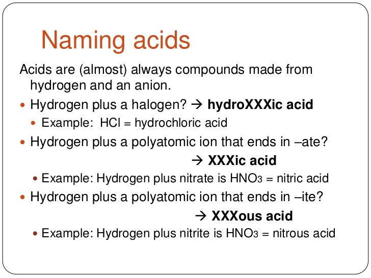 Chemistry worksheet naming acids