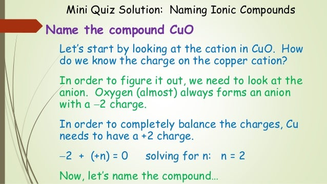 Naming Ionic Compounds Examples