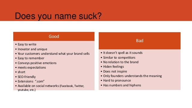 how to choose a good name for a startup