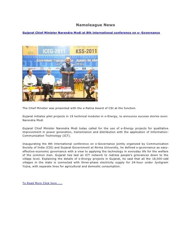 Namoleague news :- Gujarat Chief Minister Narendra Modi was presented with the e-Ratna Award of CSI at the function