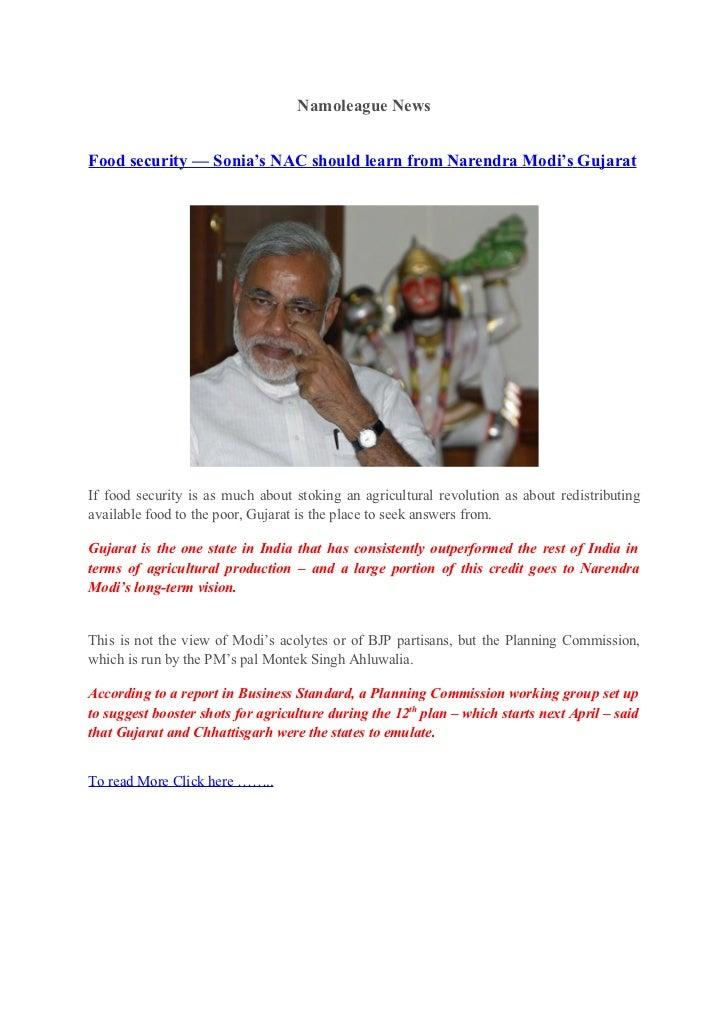 Namoleague news Food security — Sonia's NAC should learn from Narendra Modi's Gujarat