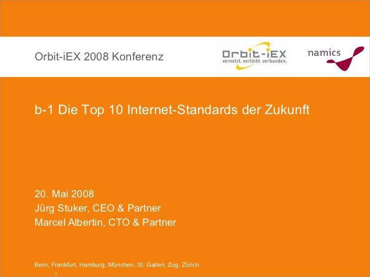 20. Mai 2008 Jürg Stuker, CEO & Partner Marcel Albertin, CTO & Partner Orbit-iEX 2008 Konferenz b-1 Die Top 10 Internet-St...