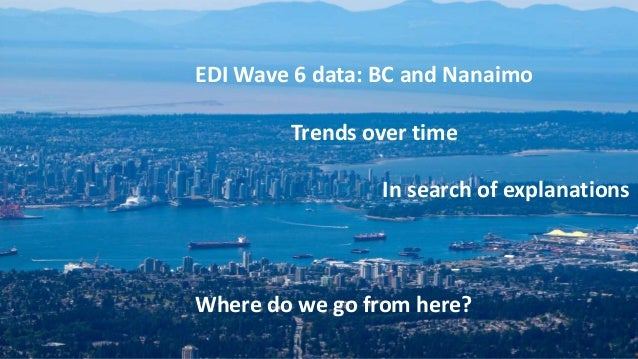 EDI Wave 6 data: BC and Nanaimo Trends over time In search of explanations Where do we go from here?