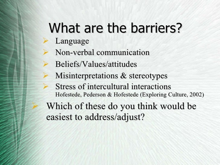 cultural barriers Intercultural communication is a discipline that studies communication across different cultures and social groups, or how culture affects communication.