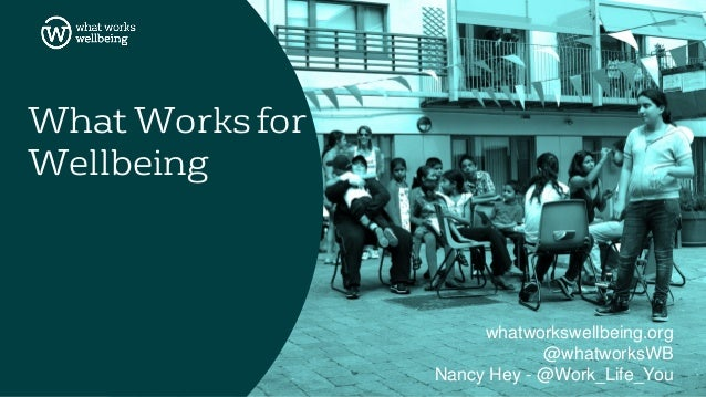 What Works for Wellbeing whatworkswellbeing.org @whatworksWB Nancy Hey - @Work_Life_You