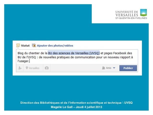 04/07/2013 -1 Séminaire Bibliothèques et communication  Nancy Direction des Bibliothèques et de l'Information scientifique...