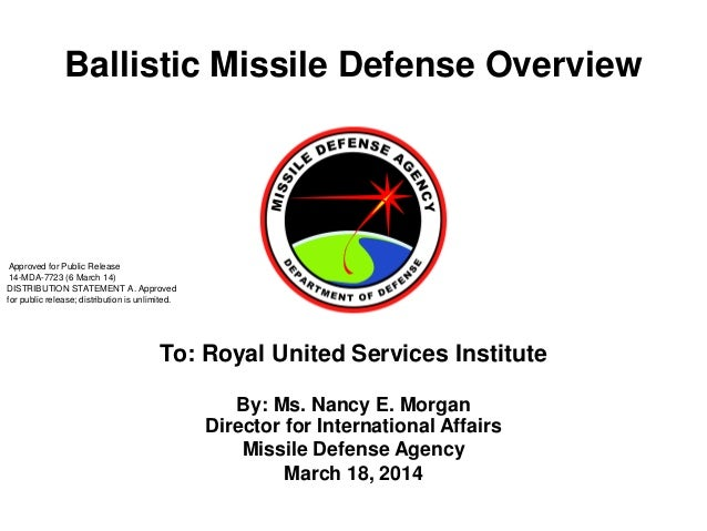 Ballistic Missile Defense Overview By: Ms. Nancy E. Morgan Director for International Affairs Missile Defense Agency March...