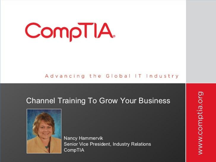 Channel Training To Grow Your Business <ul><li>Nancy Hammervik </li></ul><ul><li>Senior Vice President, Industry Relations...