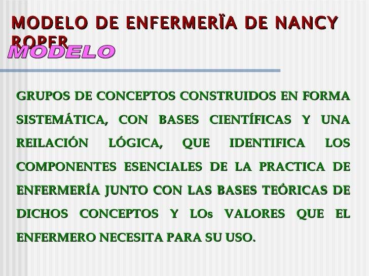 MODELO DE ENFERMERÏA DE NANCYROPERGRUPOS DE CONCEPTOS CONSTRUIDOS EN FORMASISTEMÁTICA, CON BASES CIENTÍFICAS Y UNAREILACIÓ...