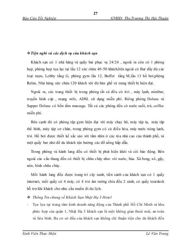 27 Báo Cáo Tốt Nghiệp GVHD: Ths.Trương Thị Hải Thuận Sinh Viên Thực Hiện Lê Văn Trung Tiện nghi và các dịch vụ của khách ...