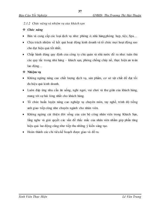 37 Báo Cáo Tốt Nghiệp GVHD: Ths.Trương Thị Hải Thuận Sinh Viên Thực Hiện Lê Văn Trung 2.1.2 Chức năng và nhiệm vụ của khác...