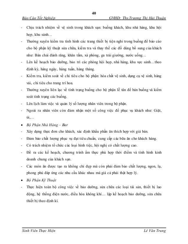 40 Báo Cáo Tốt Nghiệp GVHD: Ths.Trương Thị Hải Thuận Sinh Viên Thực Hiện Lê Văn Trung - Chịu trách nhiệm về vệ sinh trong ...