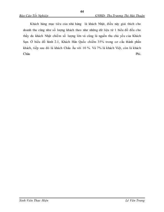 44 Báo Cáo Tốt Nghiệp GVHD: Ths.Trương Thị Hải Thuận Sinh Viên Thực Hiện Lê Văn Trung Khách hàng mục tiêu của nhà hàng là...