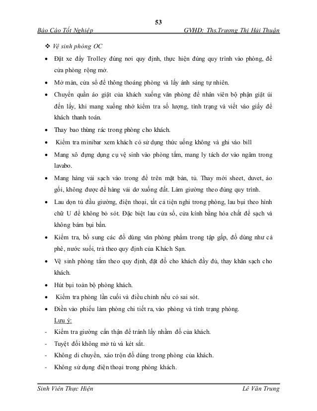 53 Báo Cáo Tốt Nghiệp GVHD: Ths.Trương Thị Hải Thuận Sinh Viên Thực Hiện Lê Văn Trung  Vệ sinh phòng OC  Đặt xe đẩy Tro...