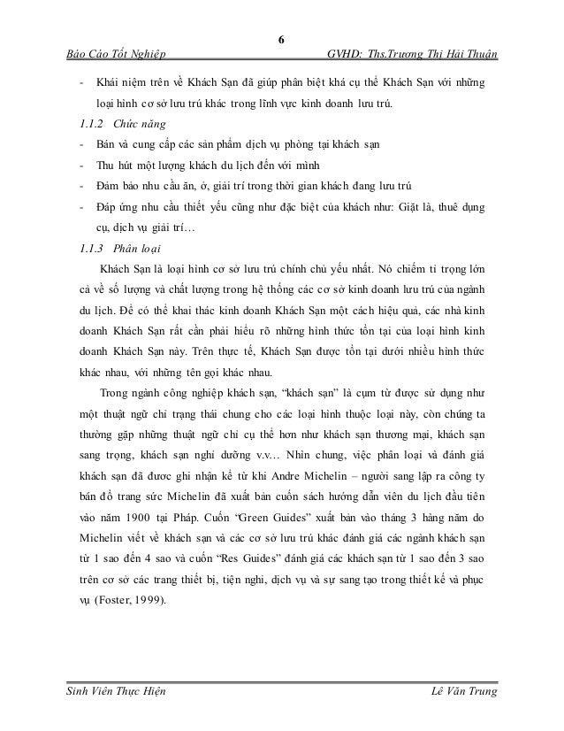 6 Báo Cáo Tốt Nghiệp GVHD: Ths.Trương Thị Hải Thuận Sinh Viên Thực Hiện Lê Văn Trung - Khái niệm trên về Khách Sạn đã giúp...