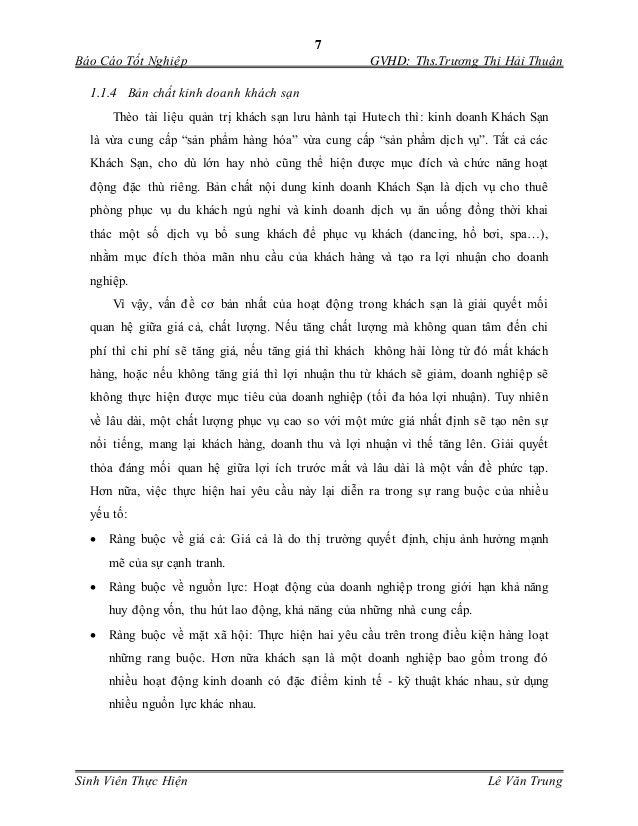 7 Báo Cáo Tốt Nghiệp GVHD: Ths.Trương Thị Hải Thuận Sinh Viên Thực Hiện Lê Văn Trung 1.1.4 Bản chất kinh doanh khách sạn T...