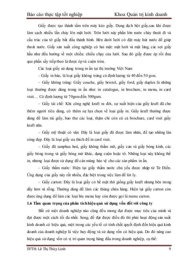 Báo cáo thực tập tốt nghiệp Khoa Quản trị kinh doanh SVTH: Lê Thị Thùy Linh 9 Giấy được tạo thành tấm trên máy kéo giấy. D...