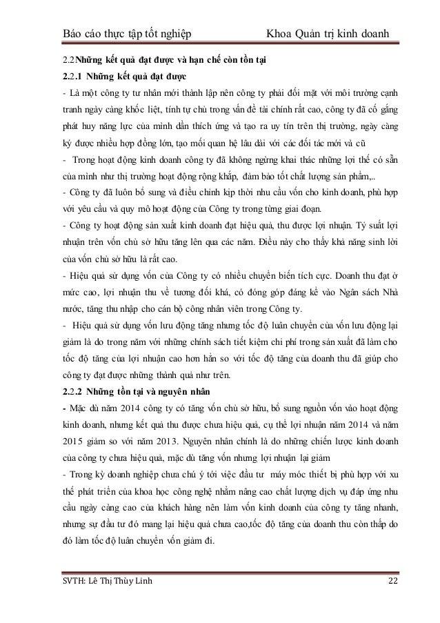 Báo cáo thực tập tốt nghiệp Khoa Quản trị kinh doanh SVTH: Lê Thị Thùy Linh 22 2.2Những kết quả đạt được và hạn chế còn tồ...