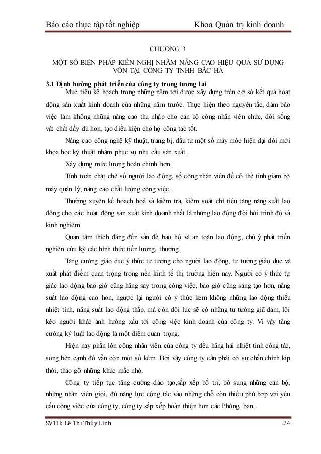 Báo cáo thực tập tốt nghiệp Khoa Quản trị kinh doanh SVTH: Lê Thị Thùy Linh 24 CHƯƠNG 3 MỘT SỐ BIỆN PHÁP KIẾN NGHỊ NHẰM NÂ...