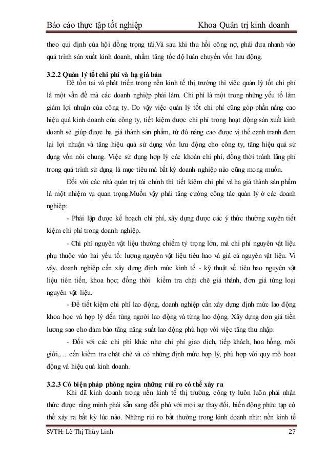 Báo cáo thực tập tốt nghiệp Khoa Quản trị kinh doanh SVTH: Lê Thị Thùy Linh 27 theo qui định của hội đồng trọng tài.Và sau...