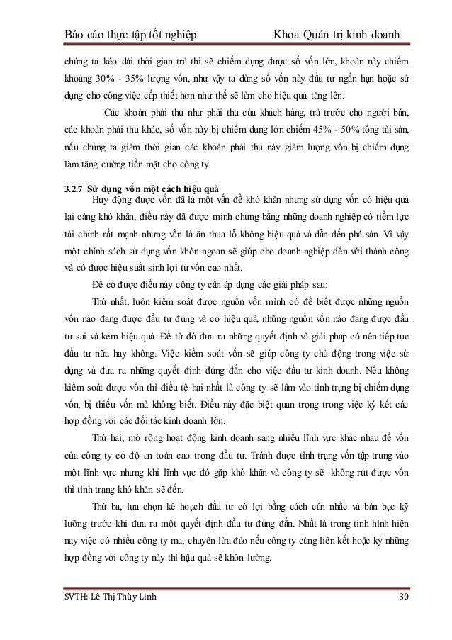 Báo cáo thực tập tốt nghiệp Khoa Quản trị kinh doanh SVTH: Lê Thị Thùy Linh 30 chúng ta kéo dài thời gian trả thì sẽ chiếm...