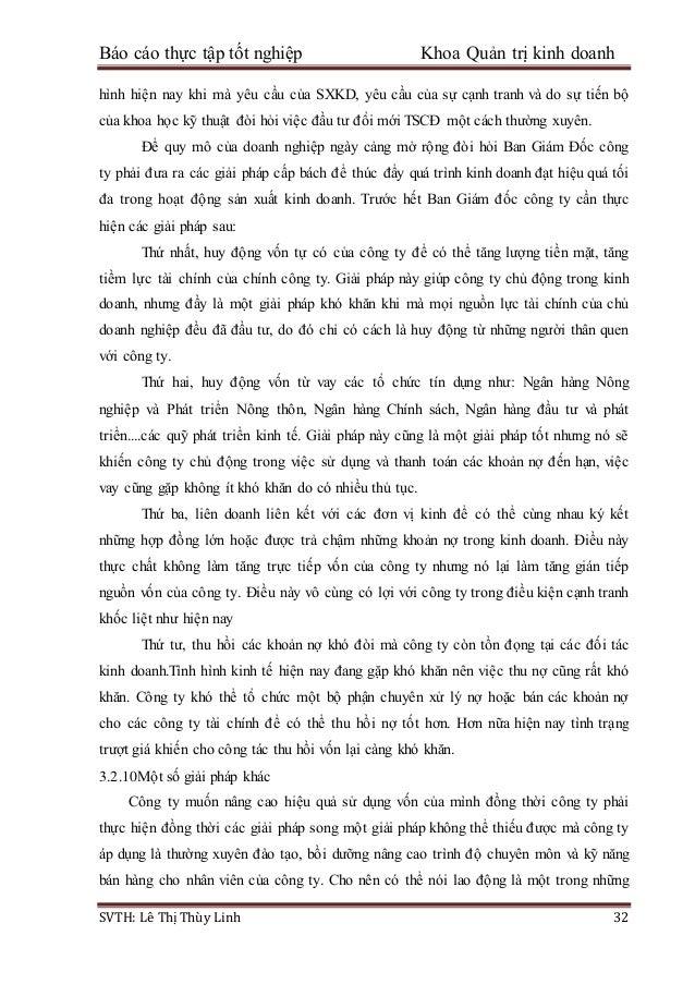 Báo cáo thực tập tốt nghiệp Khoa Quản trị kinh doanh SVTH: Lê Thị Thùy Linh 32 hình hiện nay khi mà yêu cầu của SXKD, yêu ...