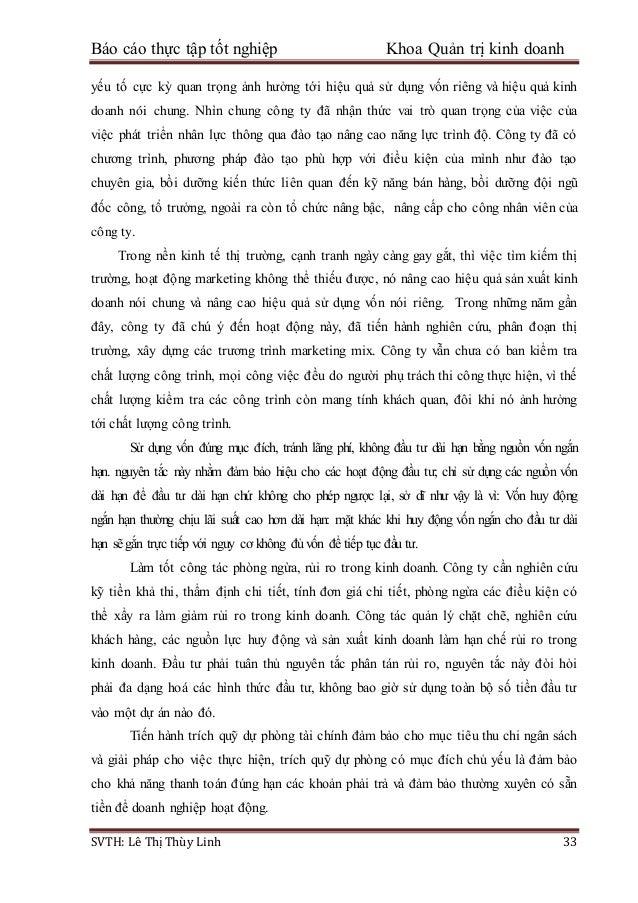 Báo cáo thực tập tốt nghiệp Khoa Quản trị kinh doanh SVTH: Lê Thị Thùy Linh 33 yếu tố cực kỳ quan trọng ảnh hưởng tới hiệu...