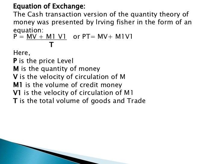 Nani quantitative theory of money