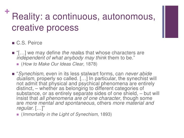 """Reality: a continuous, autonomous, creative process<br />C.S. Peirce<br />""""[…] we may define the realas that whose charact..."""