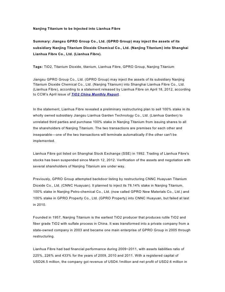Nanjing Titanium to be Injected into Lianhua FibreSummary: Jiangsu GPRO Group Co., Ltd. (GPRO Group) may inject the assets...