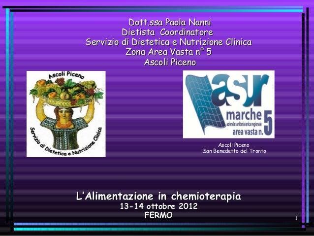 Dott.ssa Paola Nanni          Dietista Coordinatore Servizio di Dietetica e Nutrizione Clinica           Zona Area Vasta n...