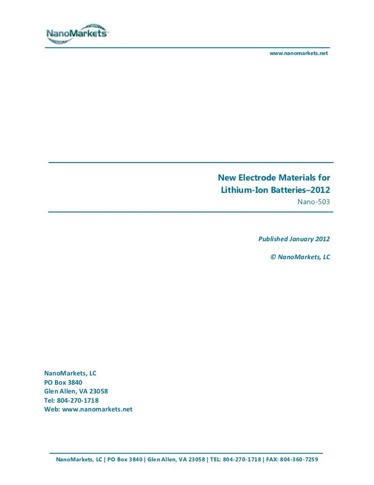 www.nanomarkets.net                                                           New Electrode Materials for                 ...