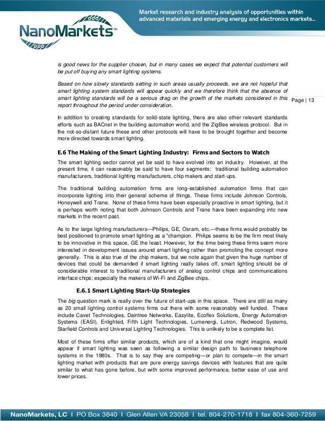 Smart Lighting Markets and Opportunities 2013 Exec Summary