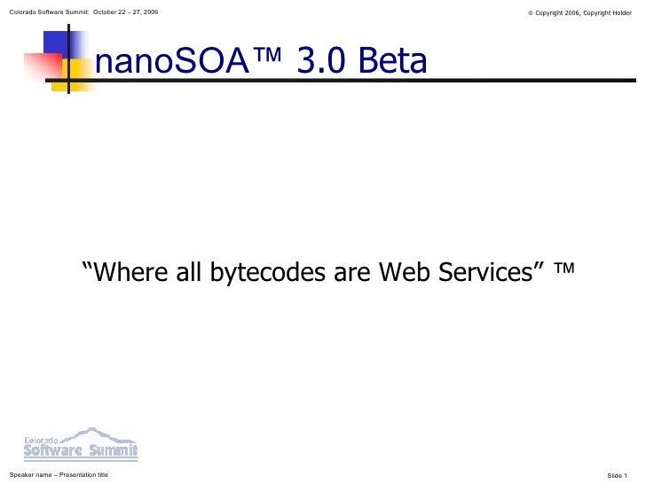 "nanoSOA™  3.0 Beta <ul><ul><li>""Where all bytecodes are Web Services""  ™ </li></ul></ul>"