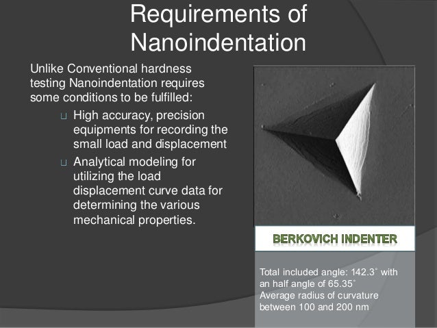 Process of Nanoindentation and use of finite element modelling
