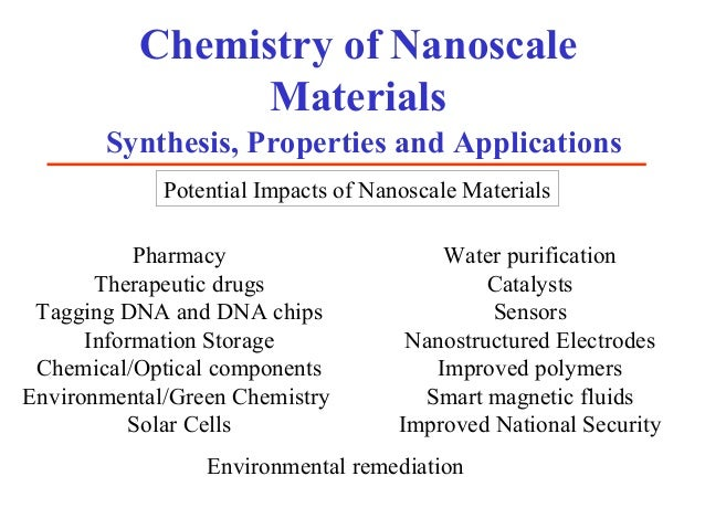 Chemistry of Nanoscale                Materials       Synthesis, Properties and Applications             Potential Impacts...