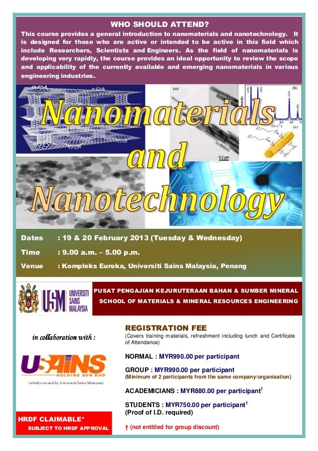 WHO SHOULD ATTEND?This course provides a general introduction to nanomaterials and nanotechnology. Itis designed for those...
