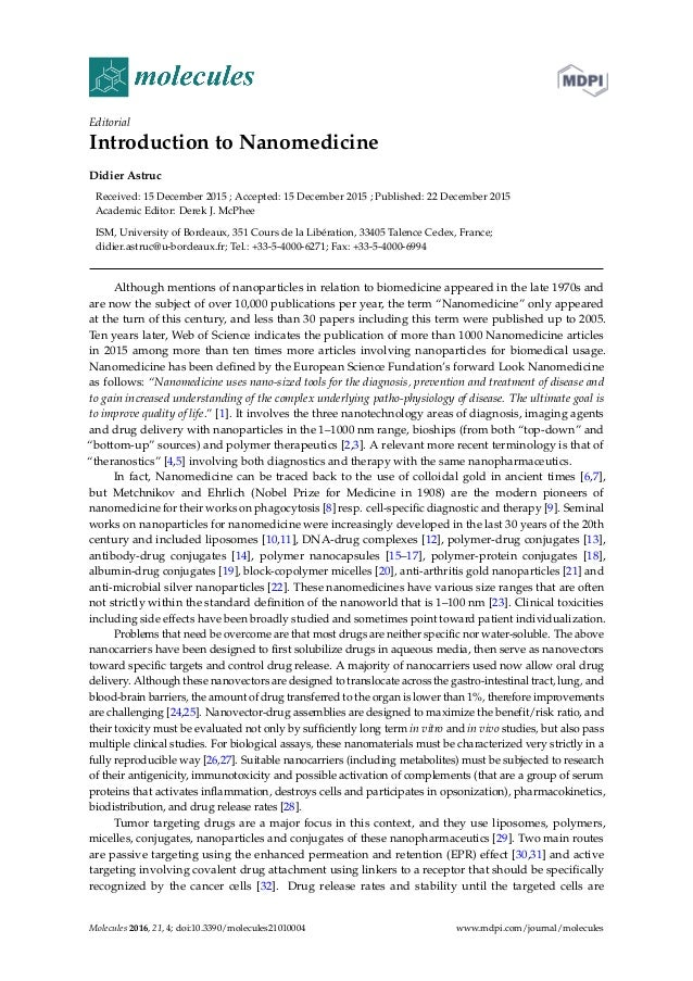 Editorial Introduction to Nanomedicine Didier Astruc Received: 15 December 2015 ; Accepted: 15 December 2015 ; Published: ...