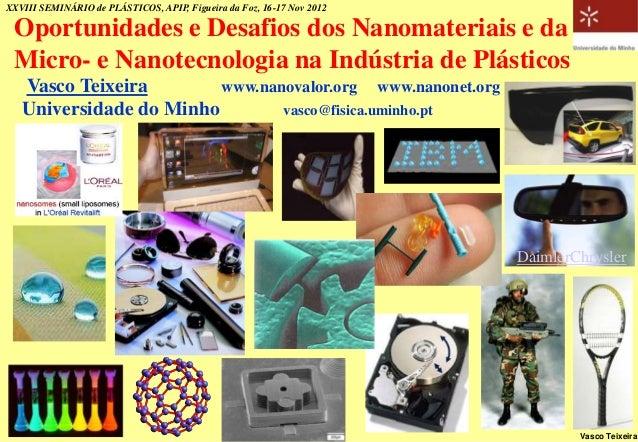 XXVIII SEMINÁRIO de PLÁSTICOS, APIP, Figueira da Foz, 16-17 Nov 2012 Oportunidades e Desafios dos Nanomateriais e da Micro...