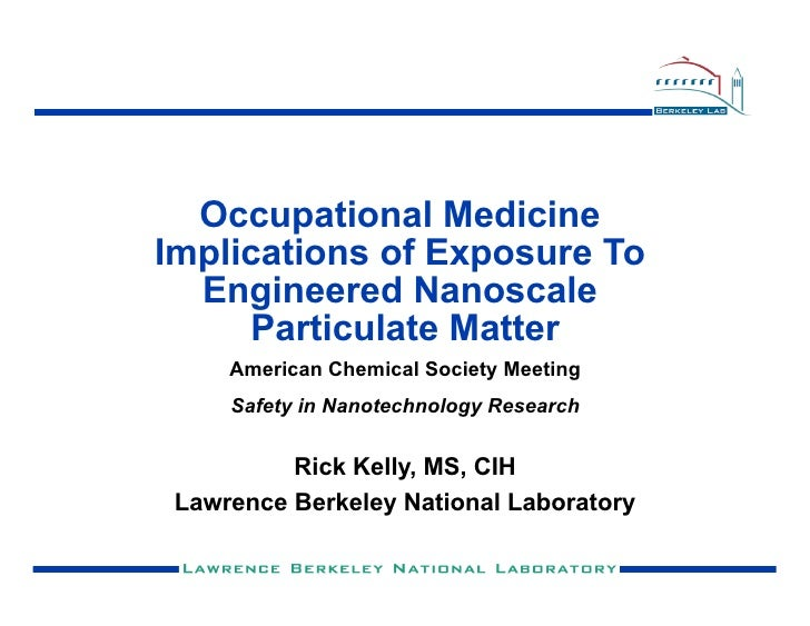 Occupational Medicine Implications of Exposure To   Engineered Nanoscale      Particulate Matter      American Chemical So...