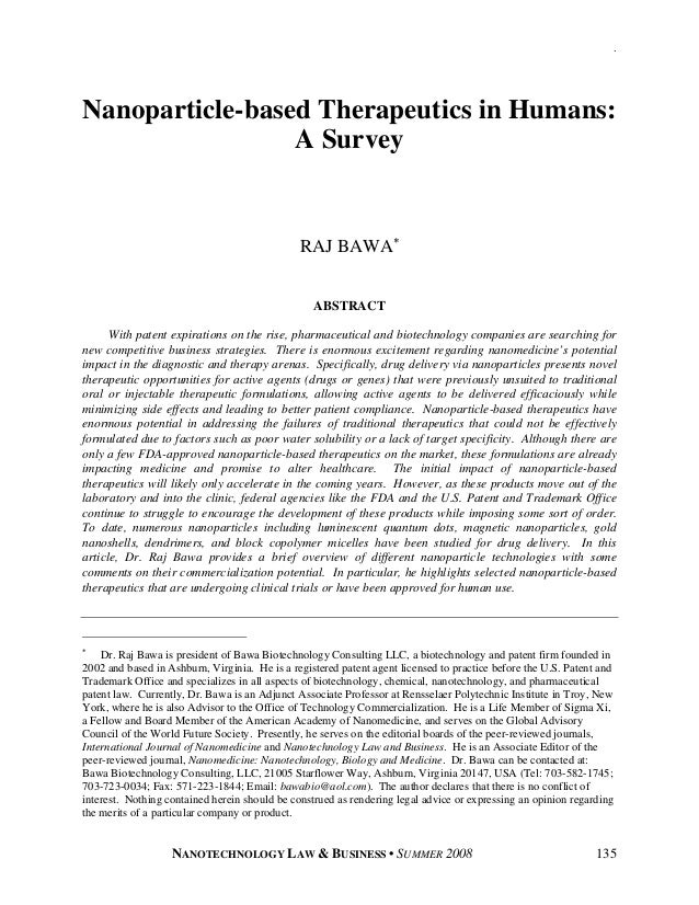 .Nanoparticle-based Therapeutics in Humans:                 A Survey                                               RAJ BAW...