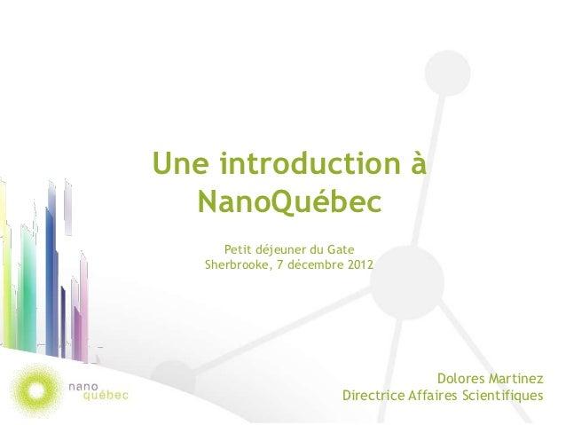 Une introduction à  NanoQuébec      Petit déjeuner du Gate   Sherbrooke, 7 décembre 2012                                  ...