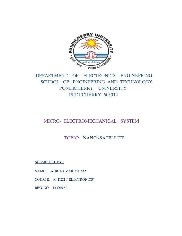 DEPARTMENT OF ELECTRONICS ENGINEERING SCHOOL OF ENGINEERING AND TECHNOLOGY PONDICHERRY UNIVERSITY PUDUCHERRY 605014 MICRO-...