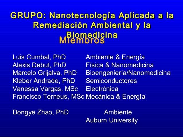 GRUPO: Nanotecnología Aplicada a la   Remediación Ambiental y la          Biomedicina              MiembrosLuis Cumbal, Ph...