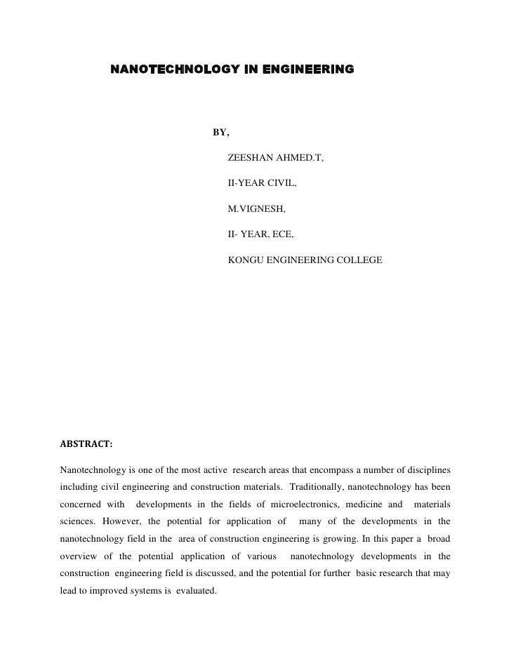 NANOTECHNOLOGY IN ENGINEERING<br />                                                             BY,<br...