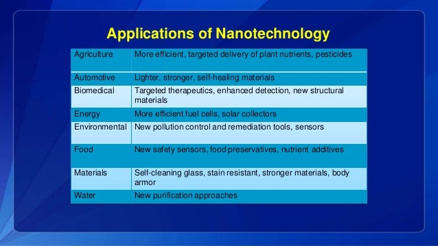 Benefits of nanotechnology essay