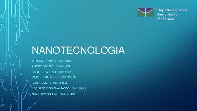 NANOTECNOLOGIA ALYSON JHONES 13/0100137 ANDRE OGURO 13/0101877  GABRIEL AVELAR 13/0142051 GUILHERME M. LUZ 13/0113000 IGOR...