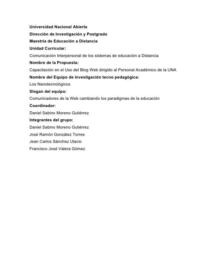 Universidad Nacional Abierta Dirección de Investigación y Postgrado Maestría de Educación a Distancia Unidad Curricular: C...